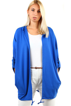 Stylish ladies cardigan with hood, without closing. The bottom hem can be pulled down with a string. The sleeves can be