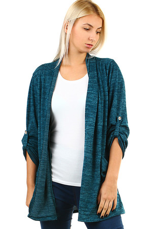 Stylish ladies cardigan with pockets and three quarter sleeves. Without closing. Thanks to free cut suitable for full-bodied