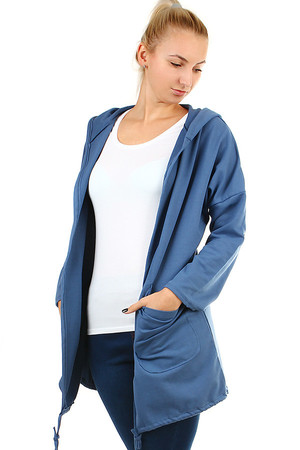 Women's long cotton cardigan with hood and long sleeves. Sleeves can be worn as 3/4. Printing on the back. Thanks to the