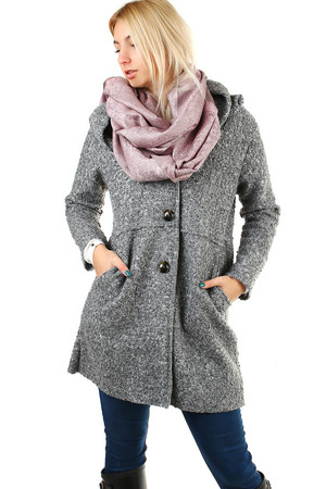 Women's gray hooded jacket, without lining in trendy loose fit with wool look. The casual coat has button fastening and