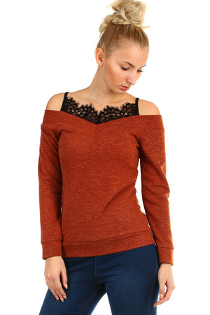 Women's brindle t-shirt made of knitted fabric long sleeve bare shoulders V-neckline V black lace embedded in the neckline