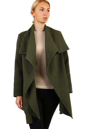 Women's fleece jacket wrapping look elegant shorter cut with sewn pockets. without closing lashing belt suitable for