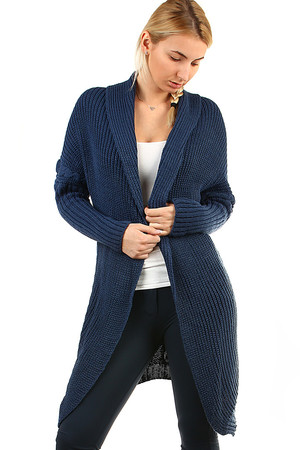 Long Women's Knitted Cardigan. comfortable original cut knitted decorative pattern on sleeves and back pleasant material