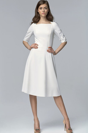 Evening women's dress knee length three-quarter sleeve original square neckline close fitting top A-skirt cut skirt