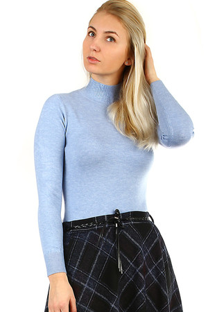Lightweight women's sweater turtleneck normal length long sleeve pleasant elastic material monochromatic design ribbed
