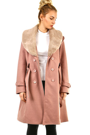 Women's fleece coat monochromatic design áčkový střih collar with removable fur button fastening side