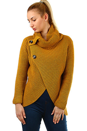 Knitted women's sweater with buttons longer cut on the forefoot with a fake button flap in the lower part of the front