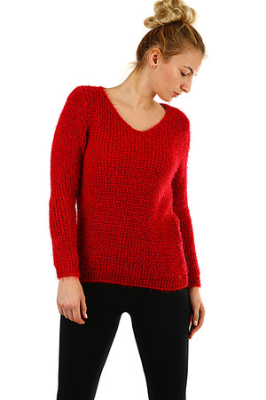 Women's sweater monochrome knit medium length without fastening V-shaped décolletage soft, slightly bushy yarn