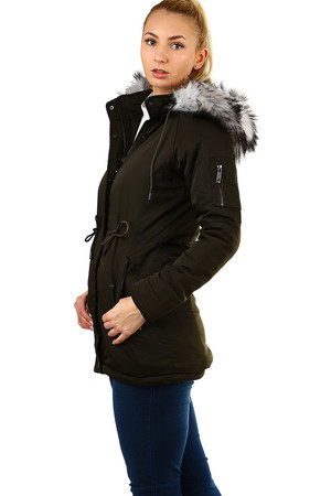 Women's khaki park with fur single color zip fastening and studs detachable hood and fur Downloading hood adjustable at
