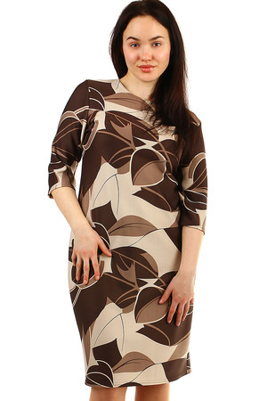 Patterned ladies' dresses round neckline 3/4 sleeve pouzdrový střih knee length flexible, easy to maintain