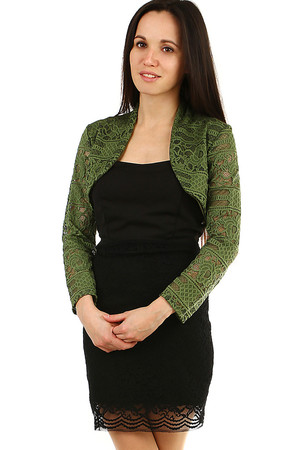 Elegant lace women's bolero monochromatic design long sleeve soft elastic lace material without fastening the front has