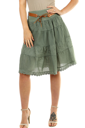 Romantic summer women's skirt monochromatic A-style cut length to the knees elastic waist with rubber for easy dressing