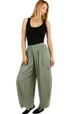Women's wide harem airy summer pants monochromatic free comfortable cut wide cut leg elastic waist with sewn rubber