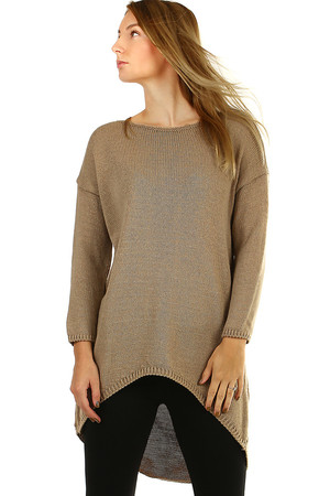 Longer women's oversized sweater with an extended back. warm material with wool content plain knit with ribbed hem the