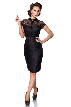 Women's lace sleeveless formal dress in popular retro style. luxury look retro style stand-up collar buttoning at the