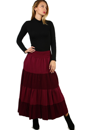 Women's ruffle casual skirt for cooler days comfortable cut maxi délka a wider waist of finely ribbed knit two