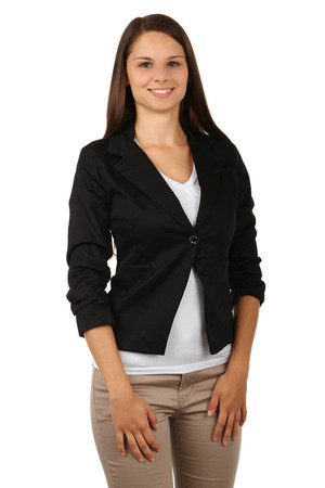 Stylish jacket with 3/4 sleeves. Draped inner sleeves. Single button operation. Import: Italy Material: 97% cotton, 3%