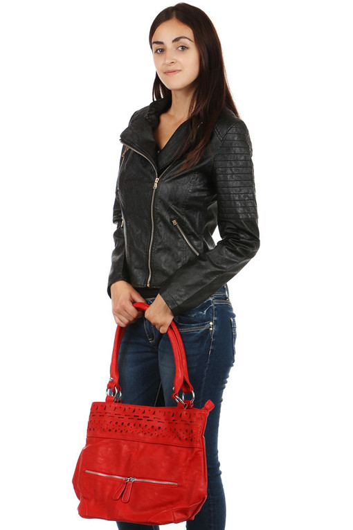 Women's leatherette jacket with asymmetrical fastening