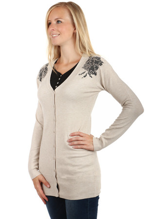 Beautiful sweater with transparent application on shoulders. Material: 50% cotton, 33% wool, 7% acrylic, 10% elastane.