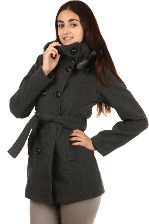 Women's coat with fur on the hood